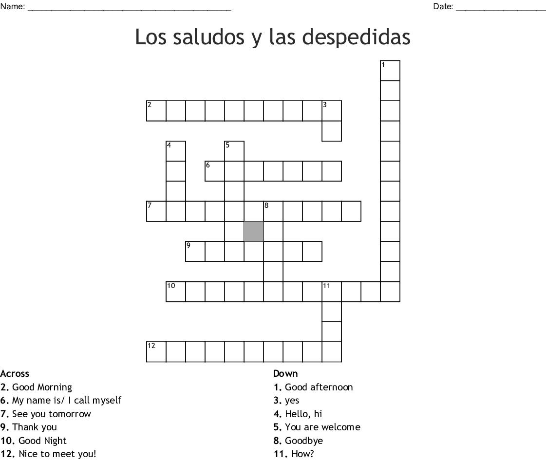 Los saludos y las despedidas Crossword - WordMint
