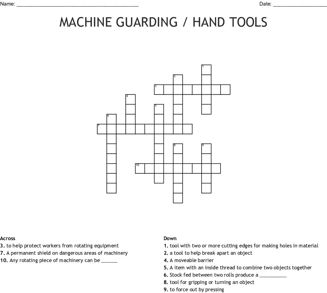 Machine Guarding Hand Tools Crossword Wordmint