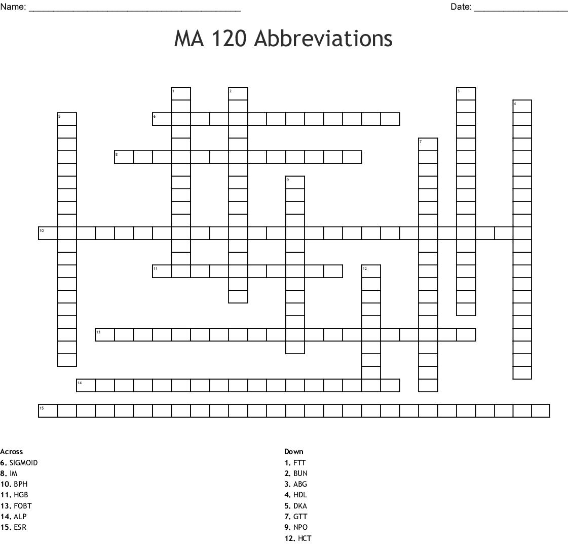 Medical Termiology Ch 4 Abriveations Crossword - WordMint