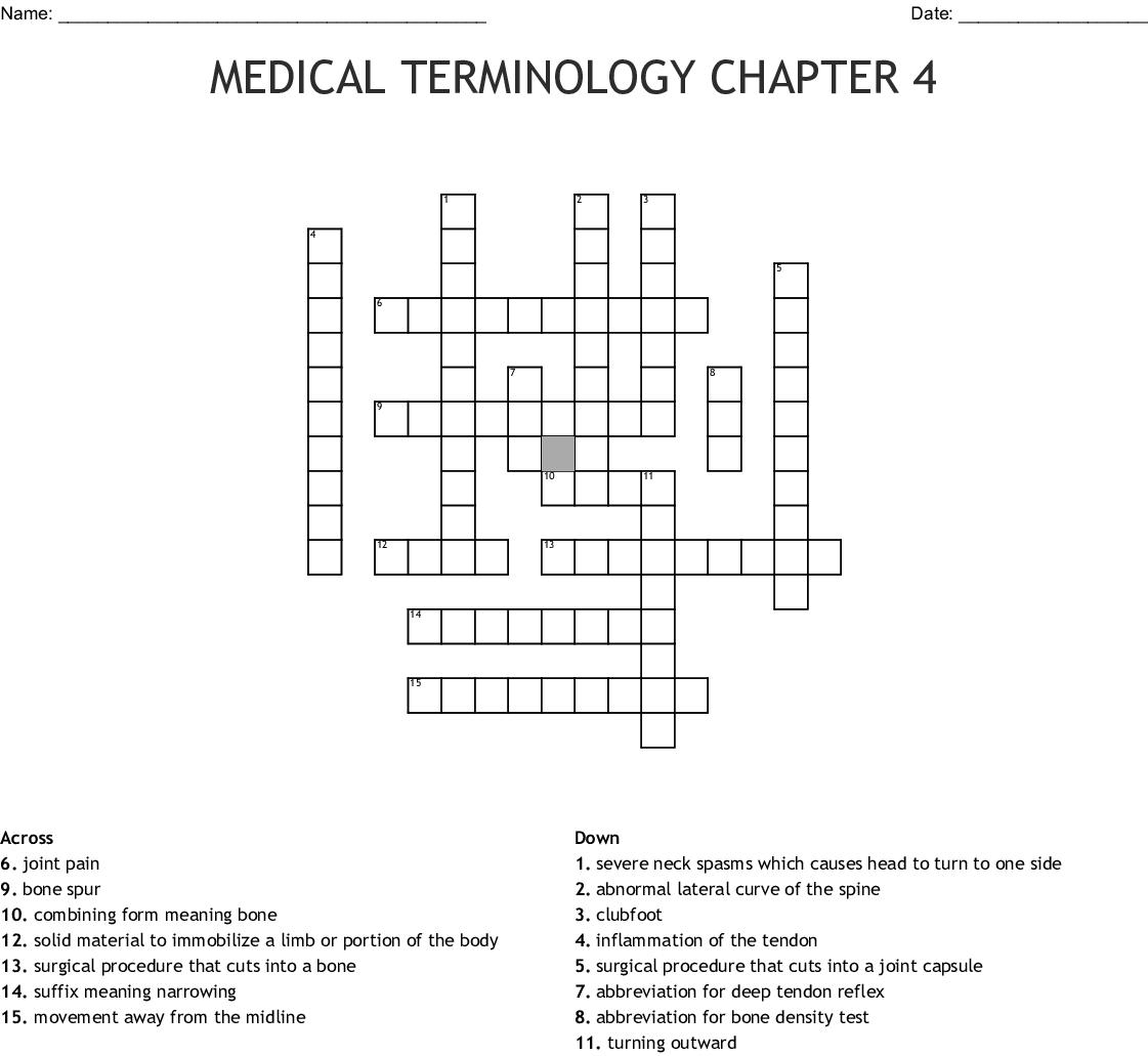 Musculoskeletal System Crossword Wordmint
