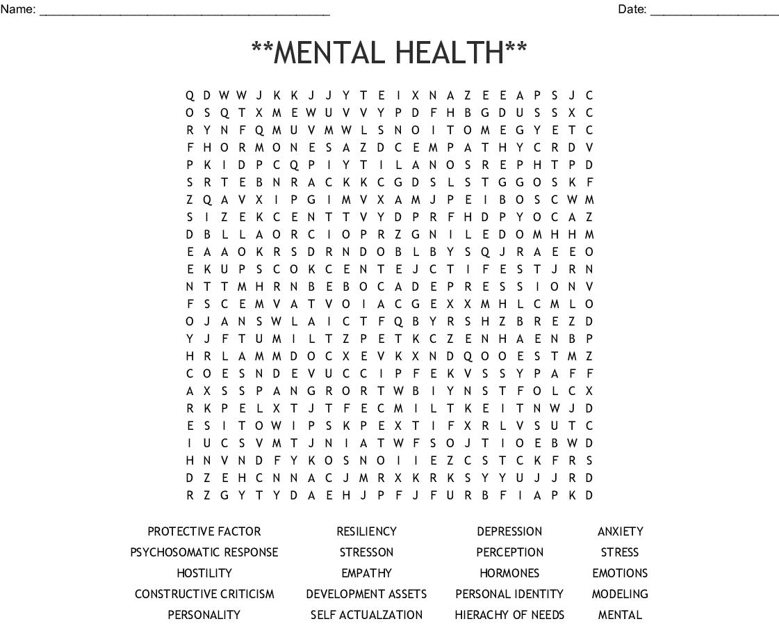 **MENTAL HEALTH** Word Search - WordMint