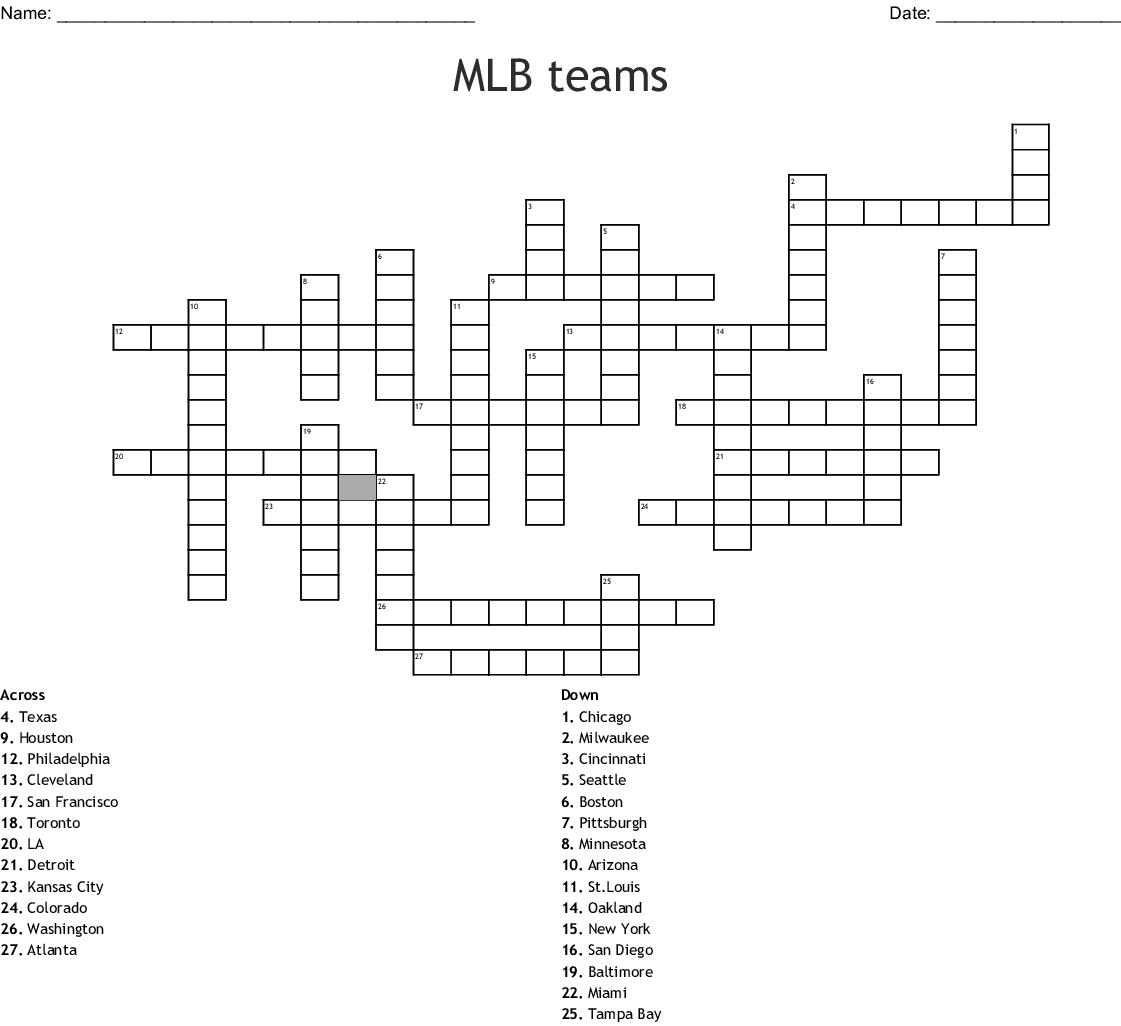 MLB Teams Word Search - WordMint