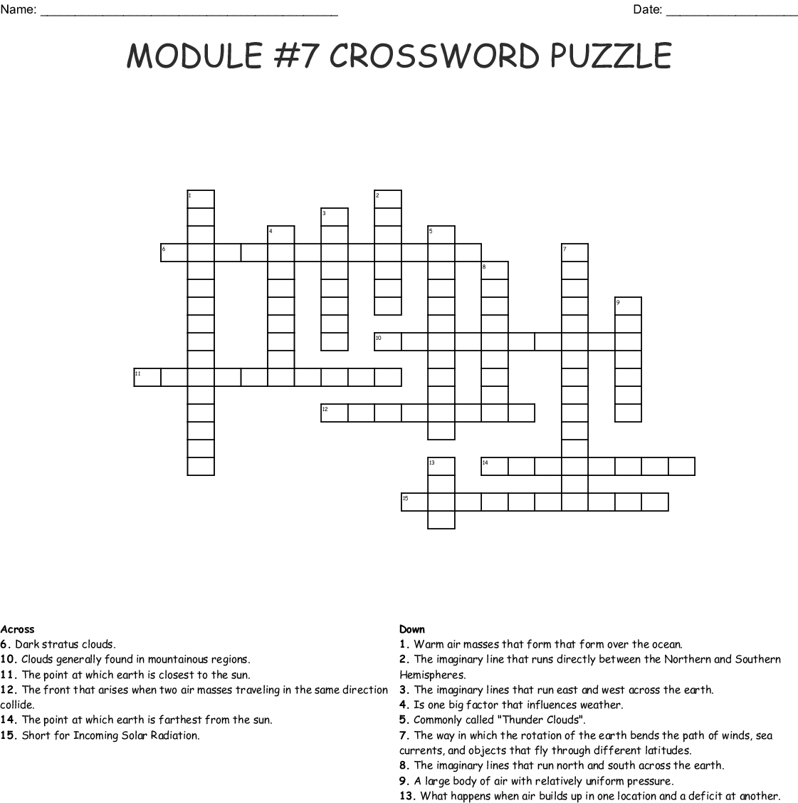 Physical Science Module 7 Crossword Puzzle Wordmint