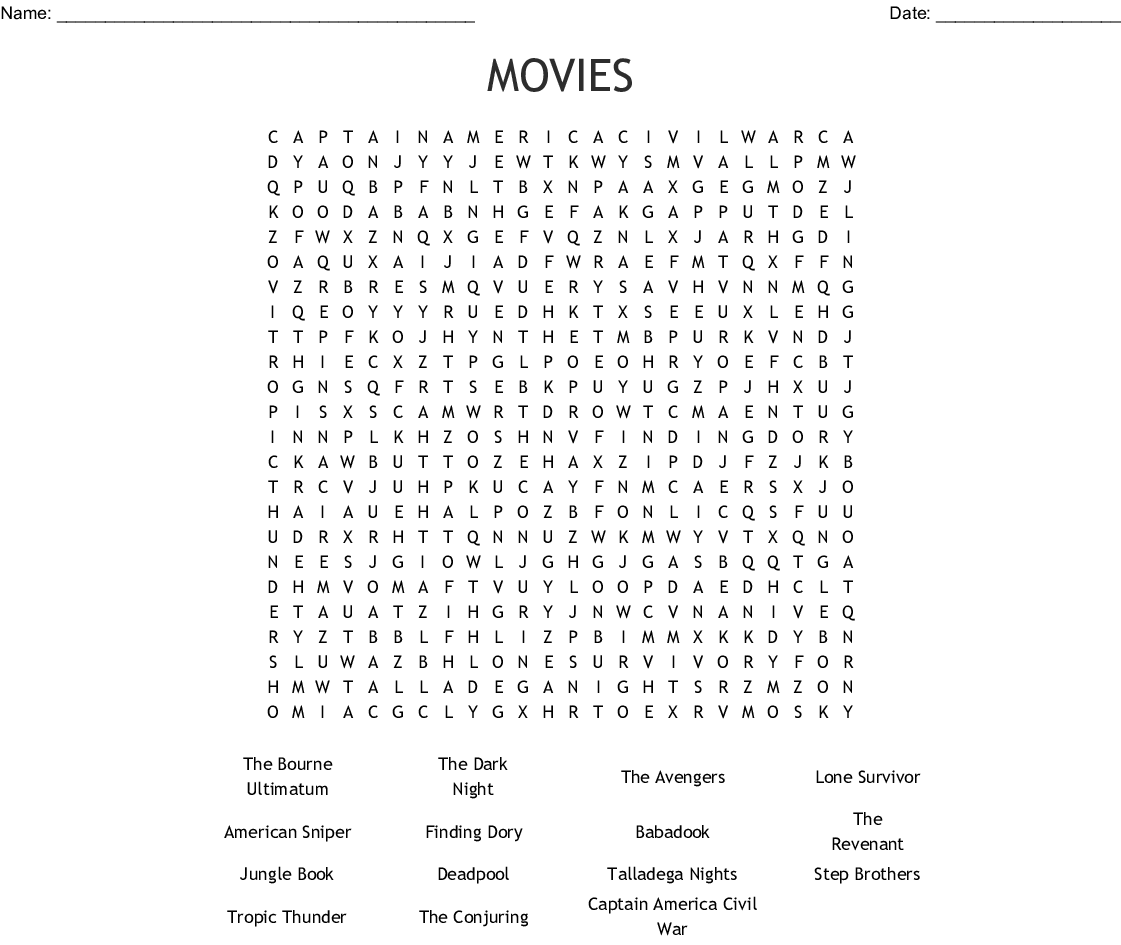 MOVIES Word Search - WordMint