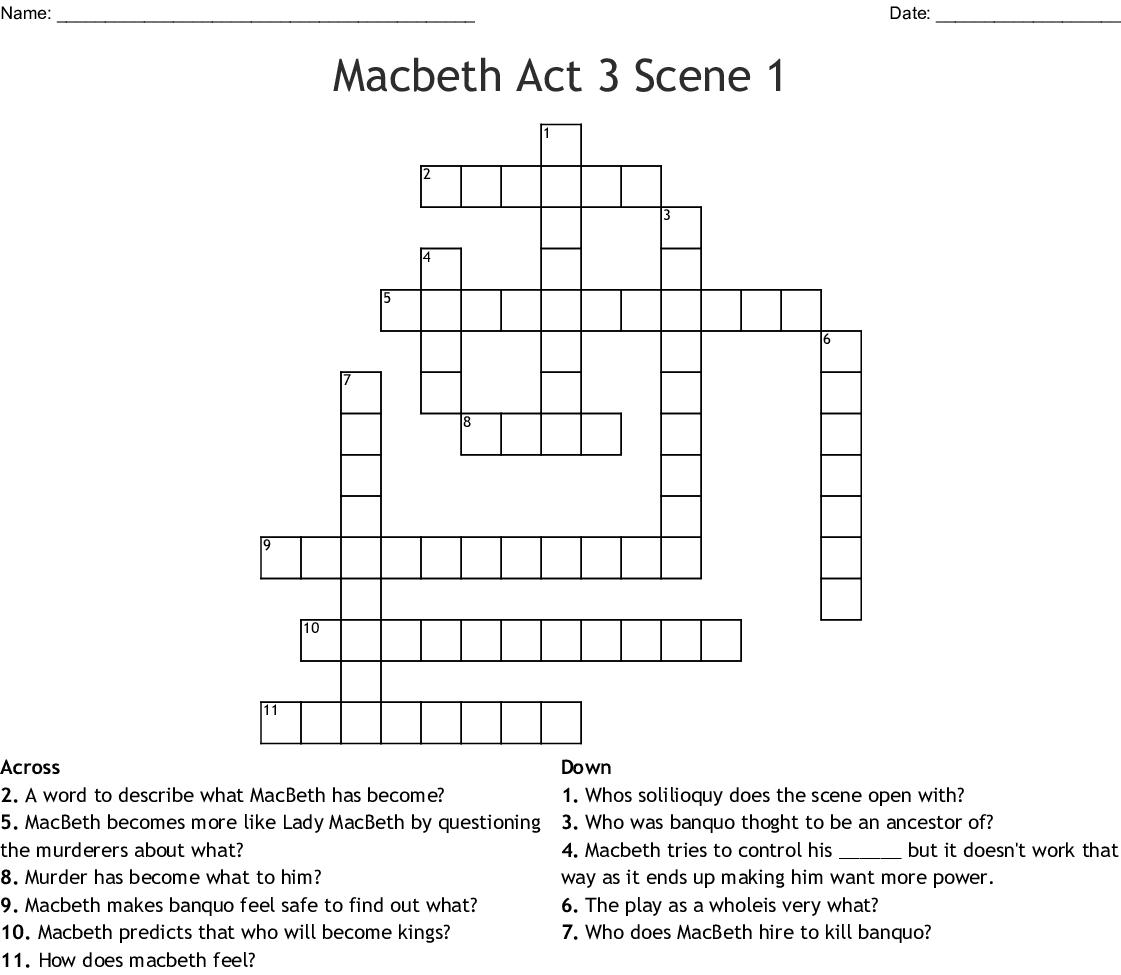 Macbeth Act 3 Scene 1 Crossword - WordMint