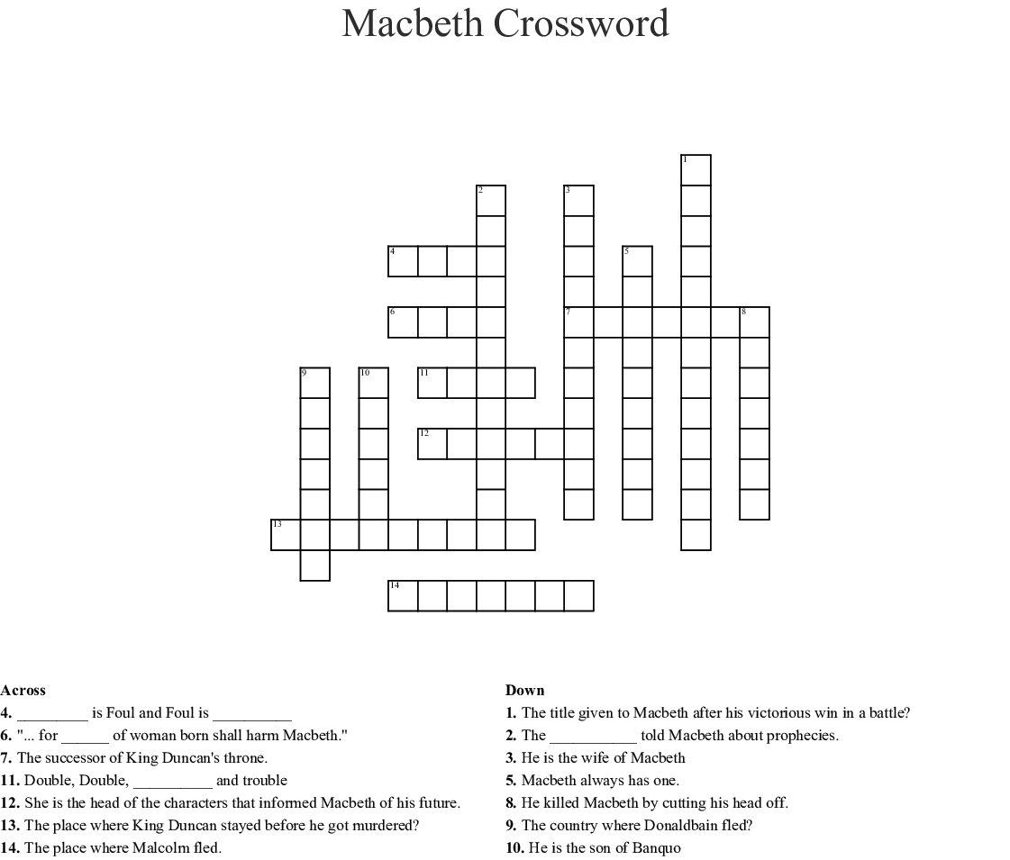 Macbeth Act IV Crossword Puzzle - WordMint