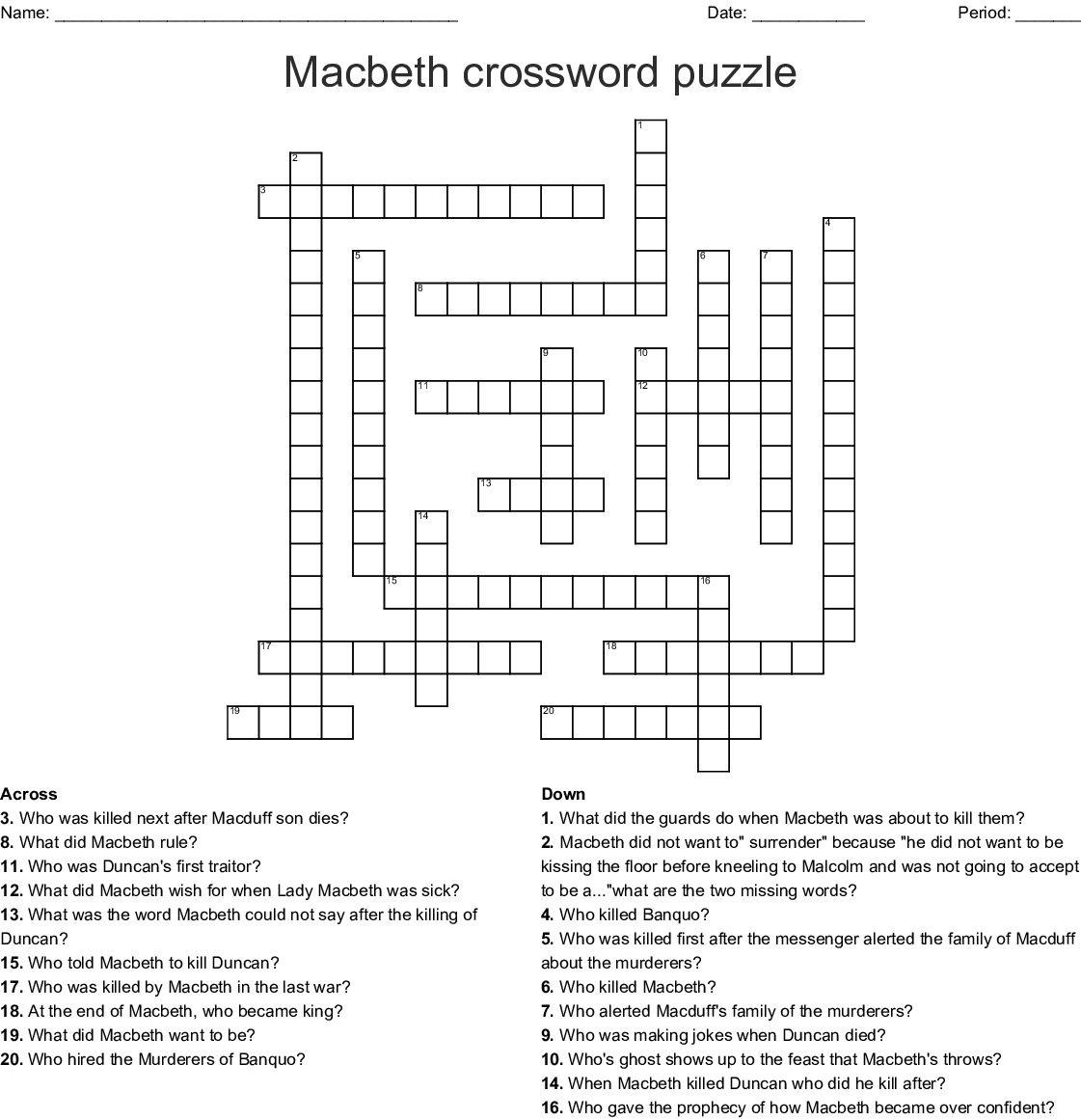 Macbeth Crossword - WordMint