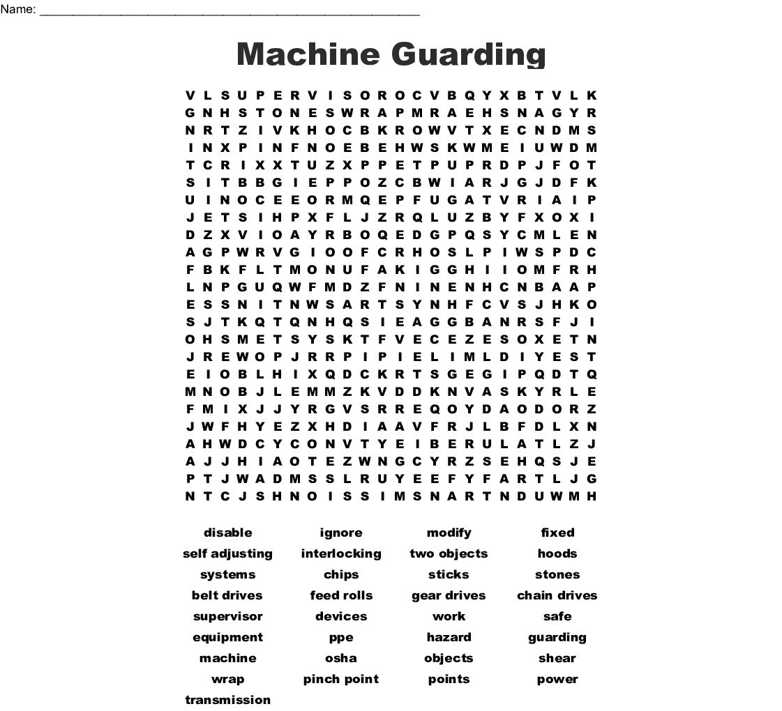 Machine Guarding Word Search - WordMint