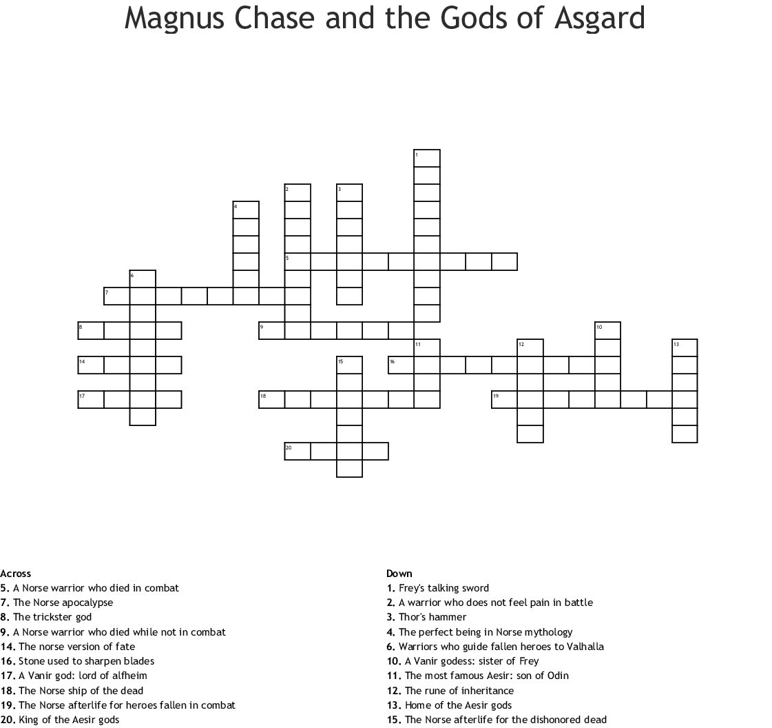 Norse Mythology goddess Crossword - WordMint
