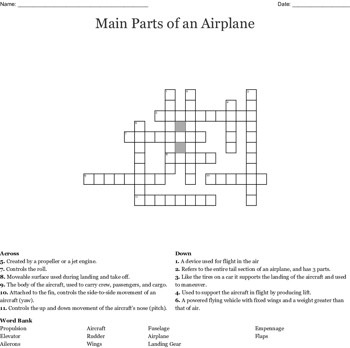 Main Parts Of An Airplane Crossword Wordmint