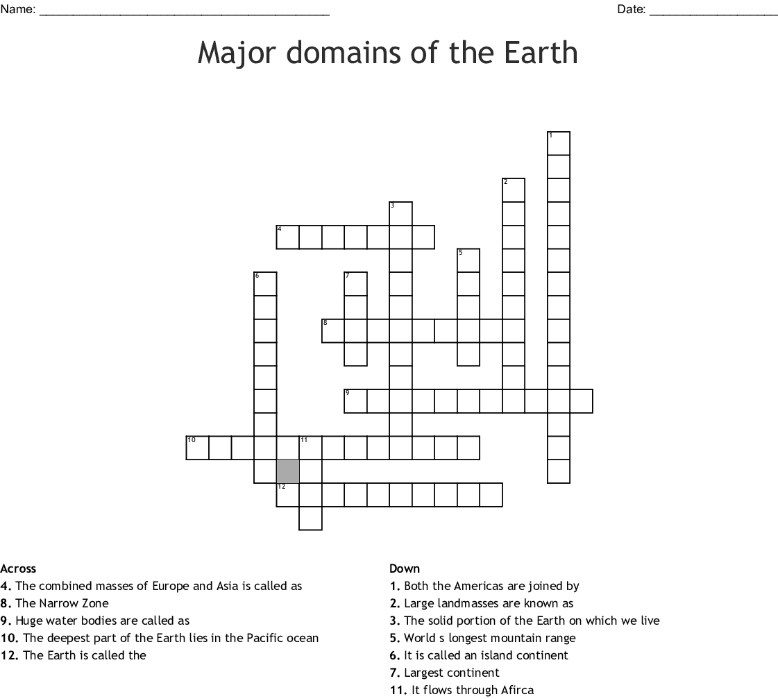 Major Domains Of The Earth Crossword Wordmint