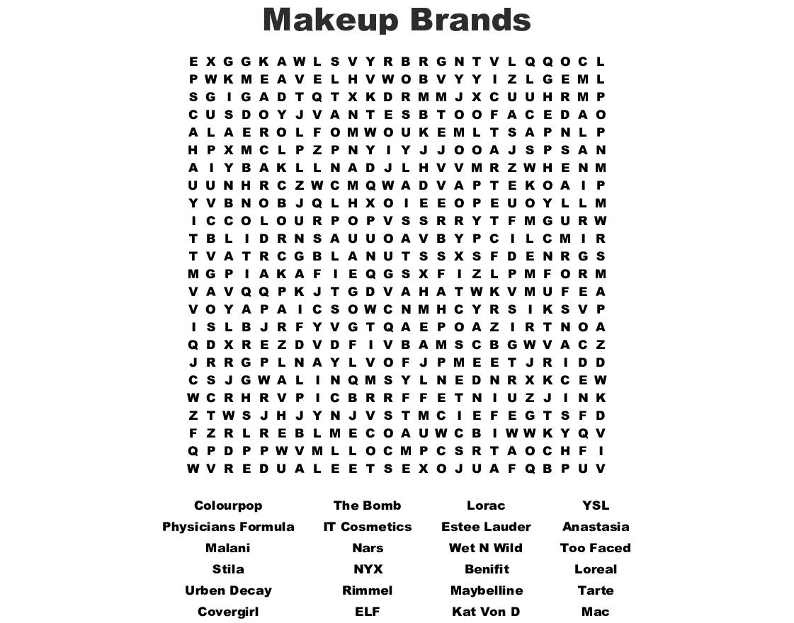 Makeup Word Search Wordmint