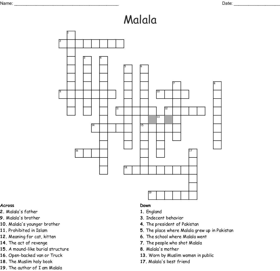 I Am Malala Crossword - WordMint