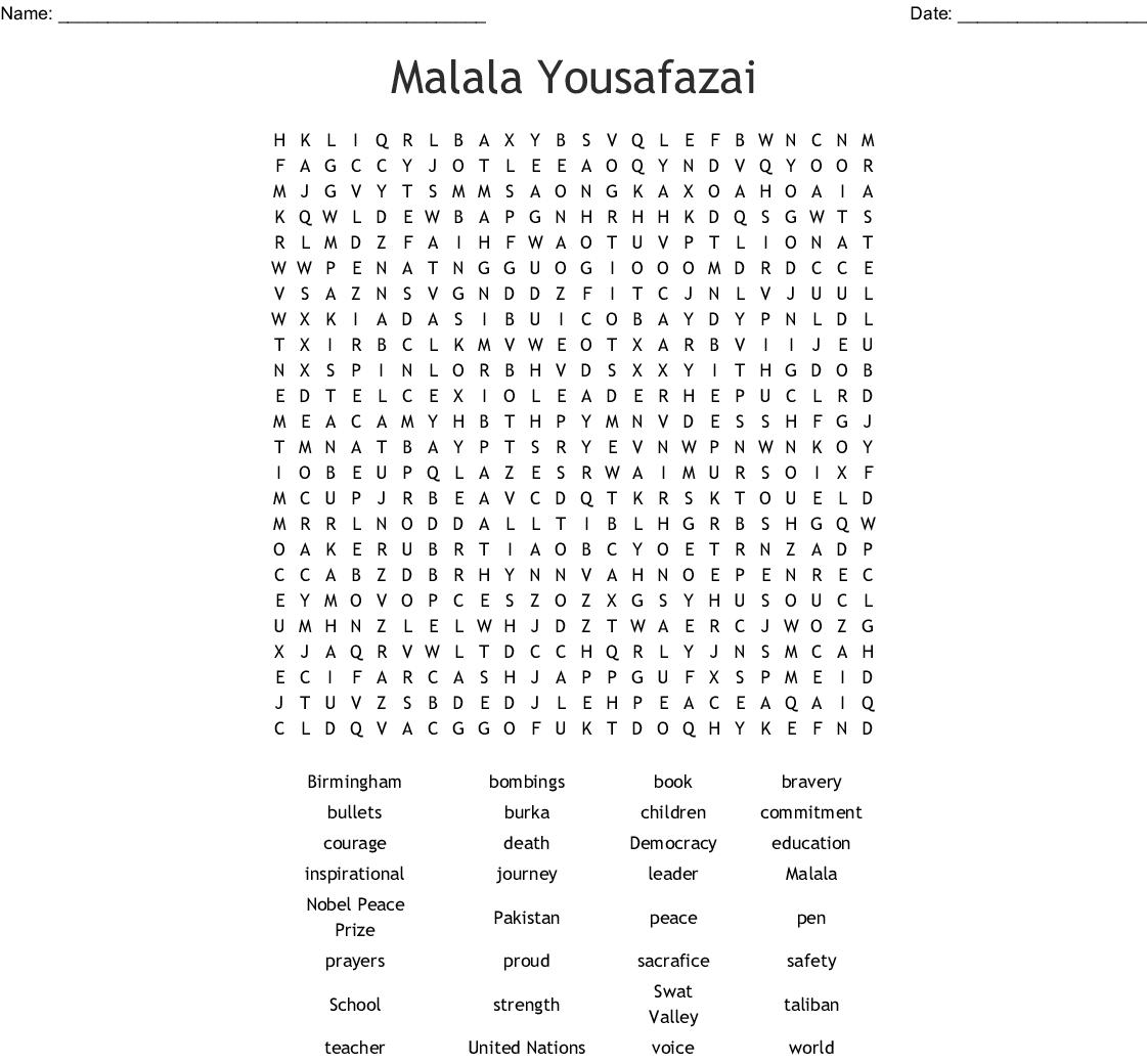 I AM MALALA word search - WordMint