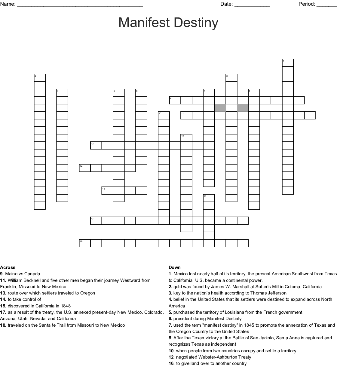 Manifest Destiny Crossword - WordMint