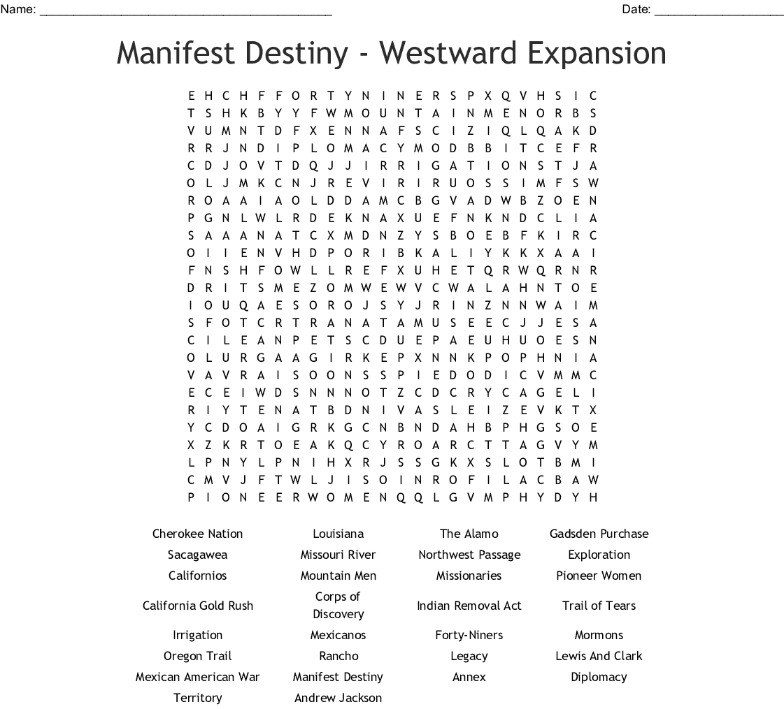Manifest Destiny - Westward Expansion Word Search - WordMint