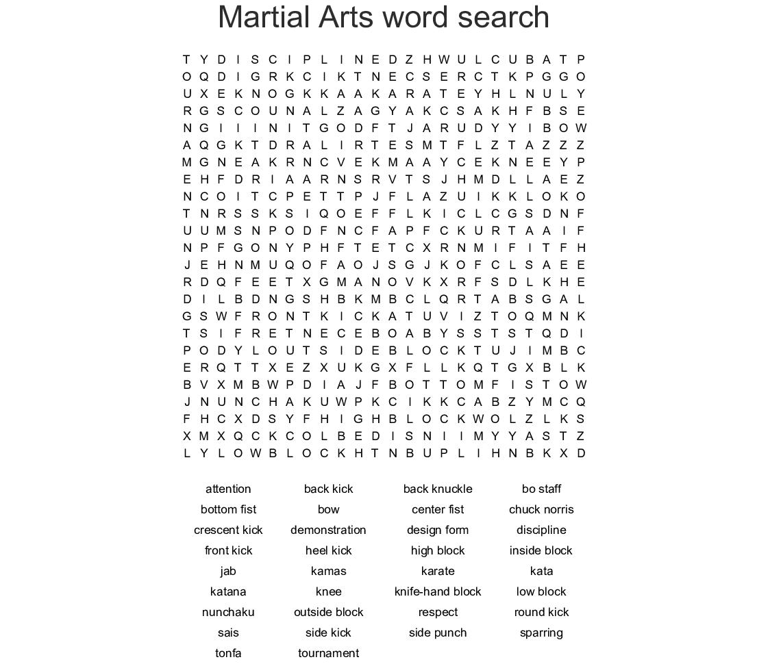 Martial Arts Word Search - WordMint