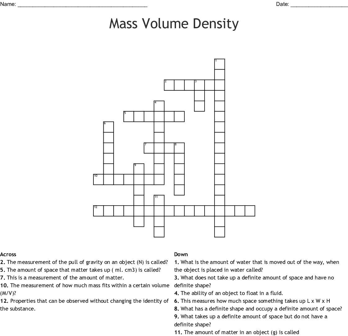 Mass Volume Density Crossword Wordmint