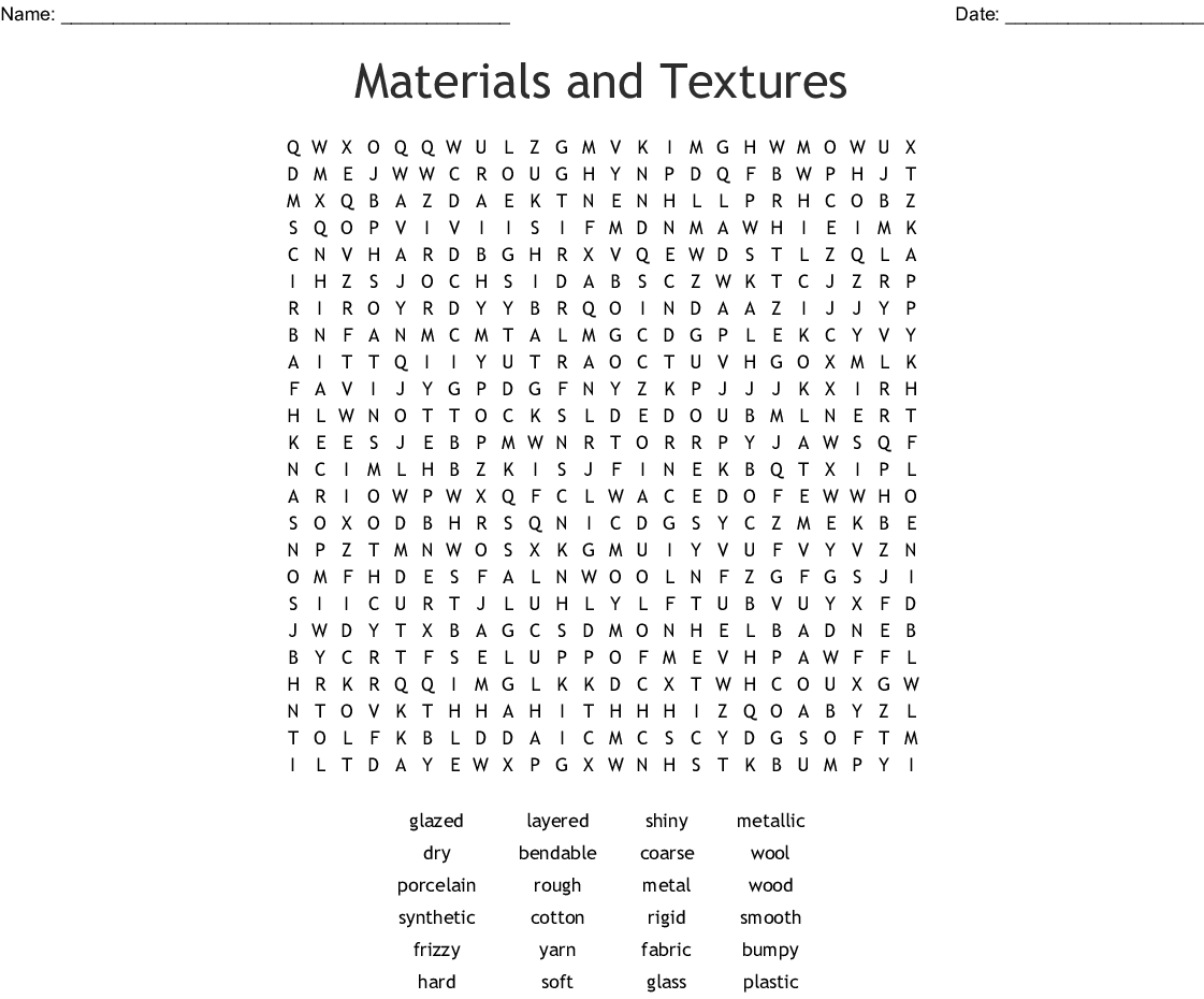 Materials and Textures Word Search - WordMint
