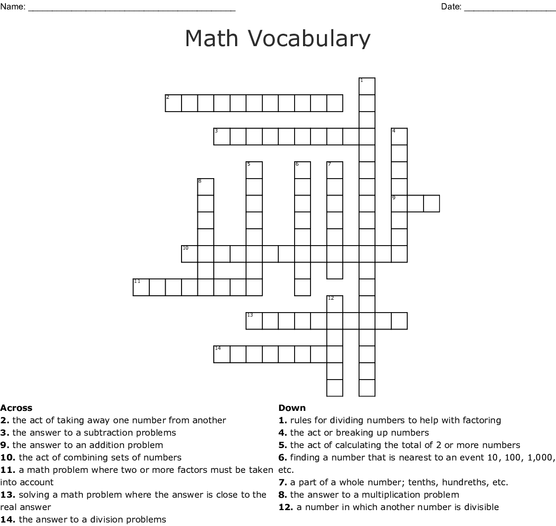 Math Vocabulary Crossword - WordMint