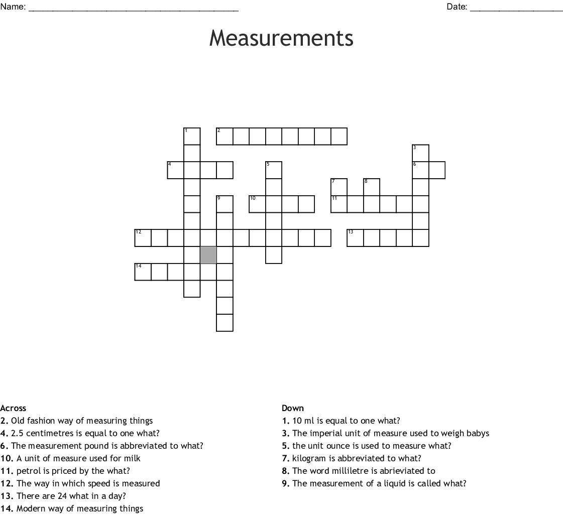 Measurements Crossword Wordmint