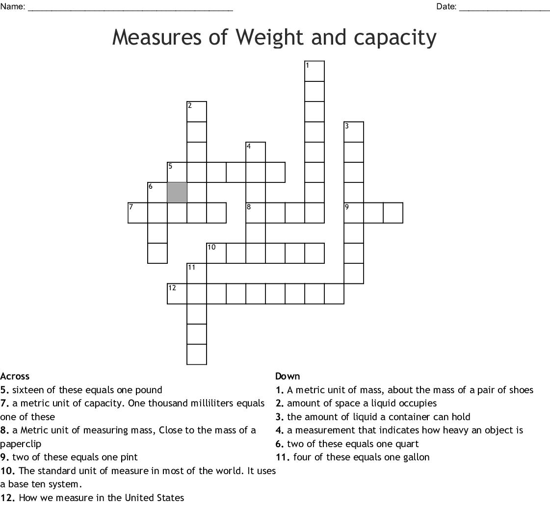 Measures Of Weight And Capacity Crossword Wordmint