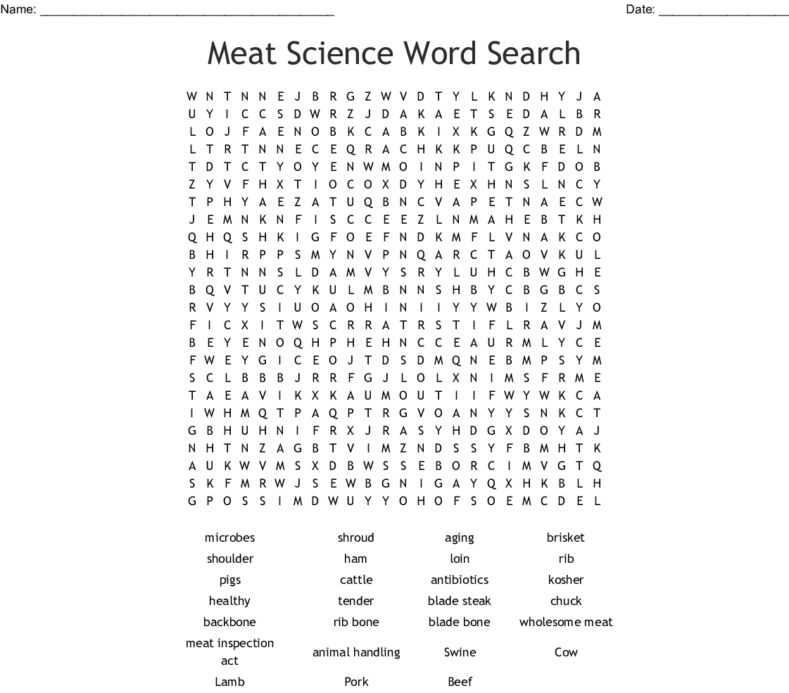 Meat Science Word Search Wordmint