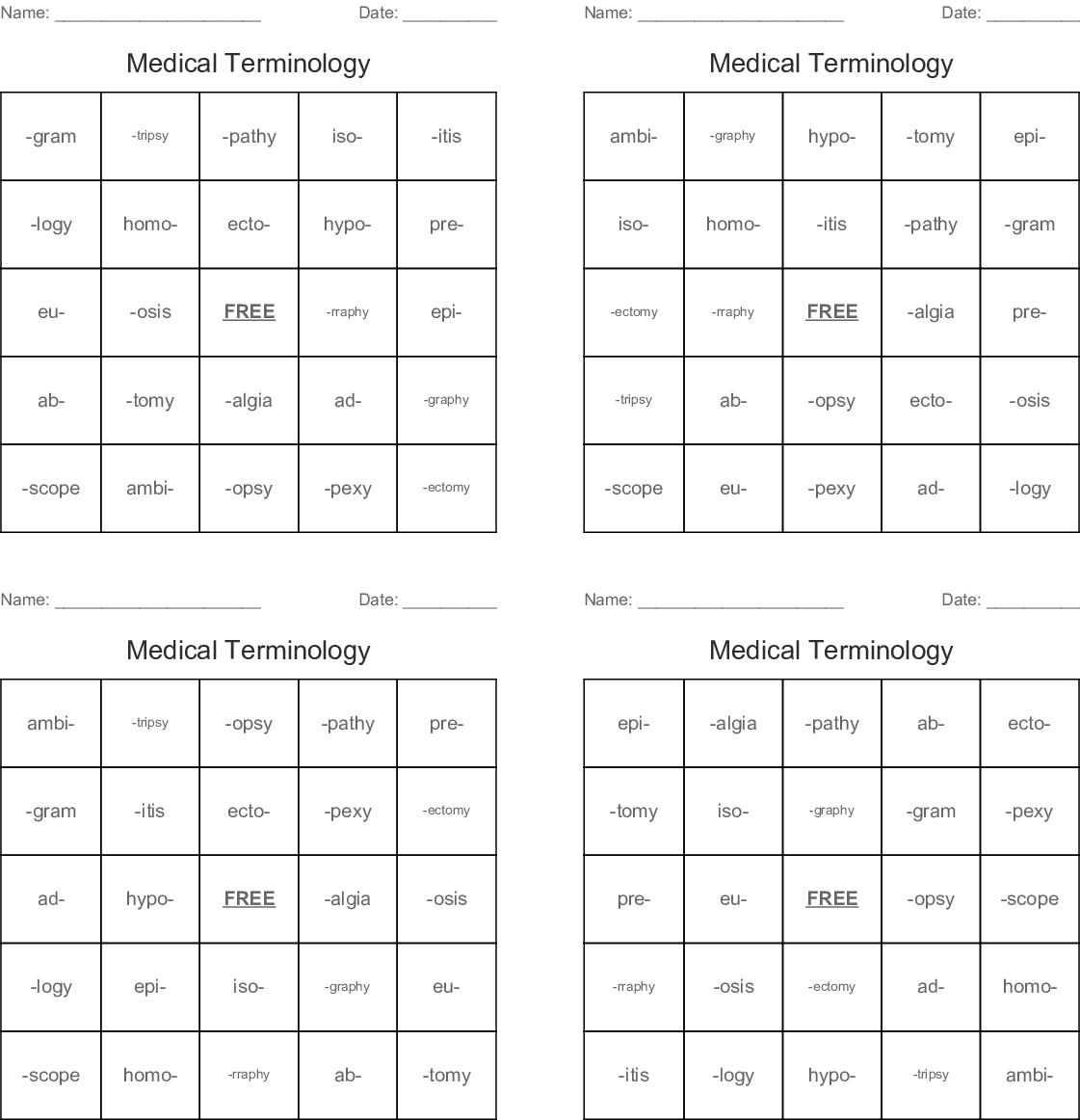 Medical Terminology Bingo Cards - WordMint