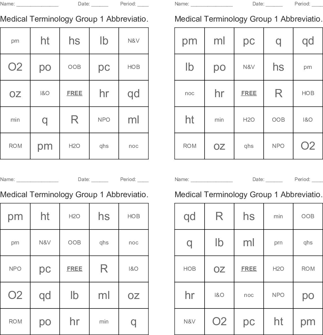 Medical Abbreviations and Symbols Bingo Cards - WordMint