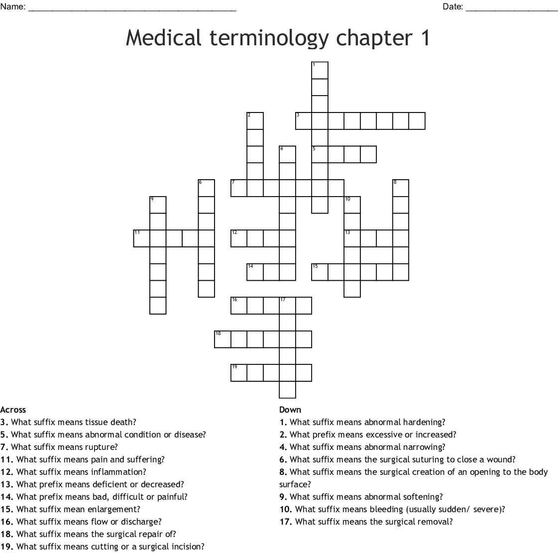 Medical Terminology Prefix, Root, Suffix Crossword - WordMint