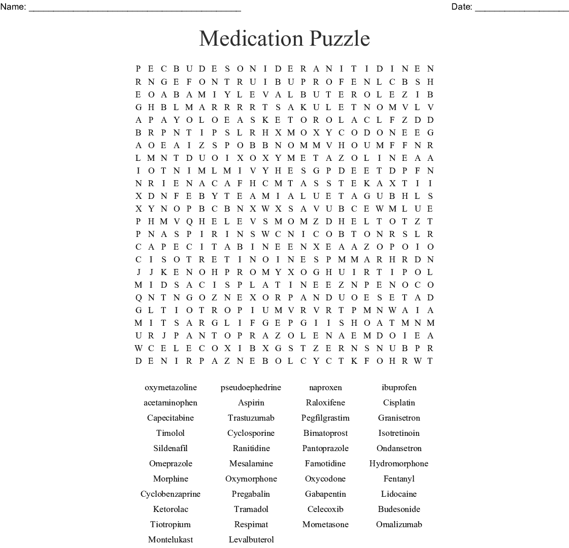 Drugs Medications Crosswords Word Searches Bingo Cards Wordmint