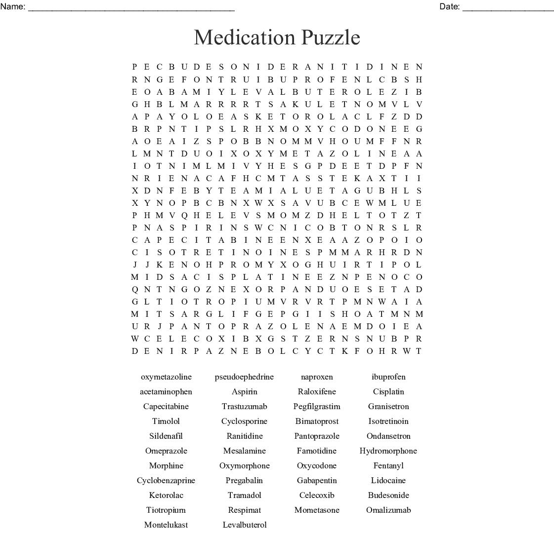 drugs  u0026 medications crosswords  word searches  bingo cards