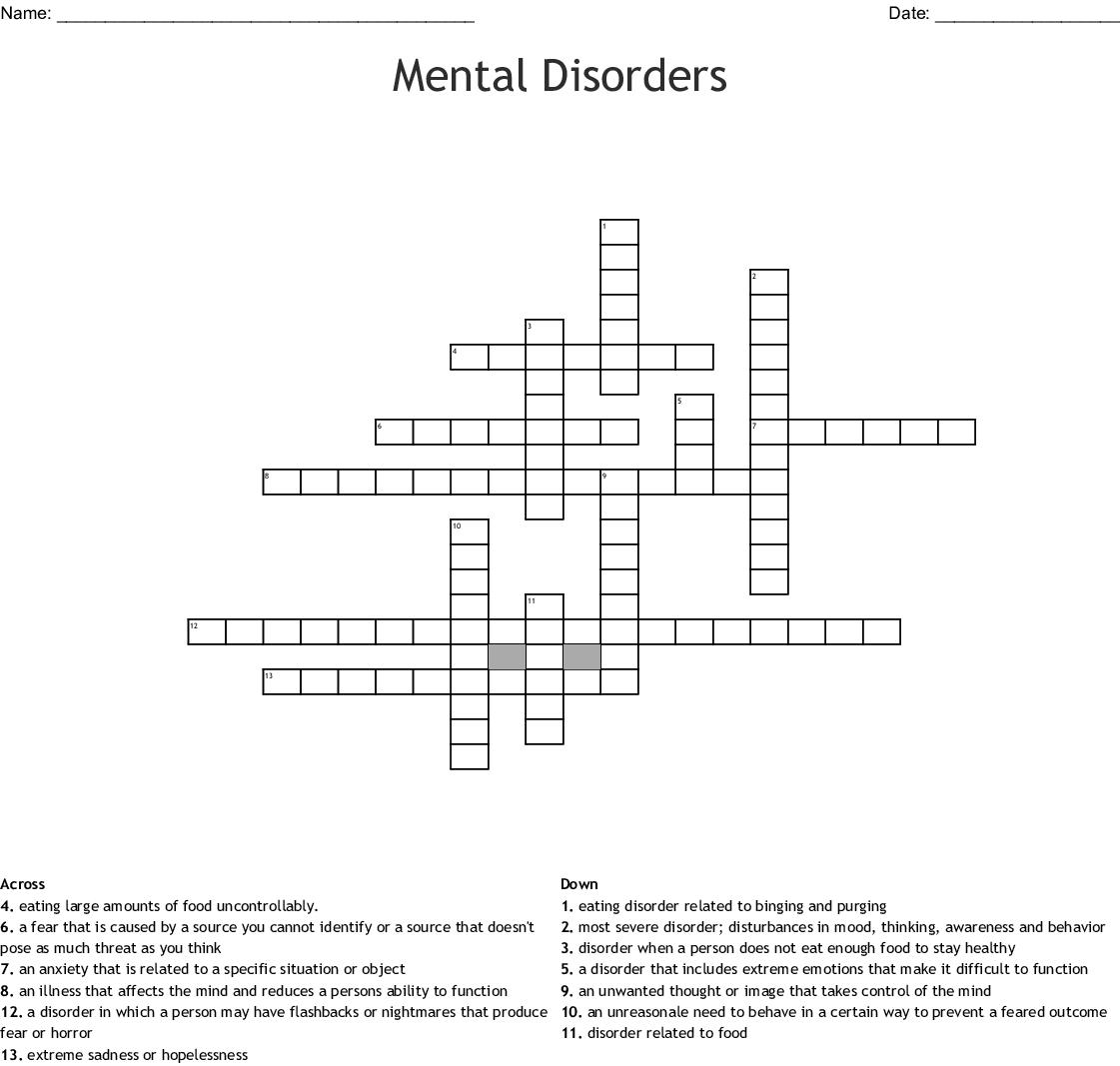 Mental Disorders Crossword Wordmint