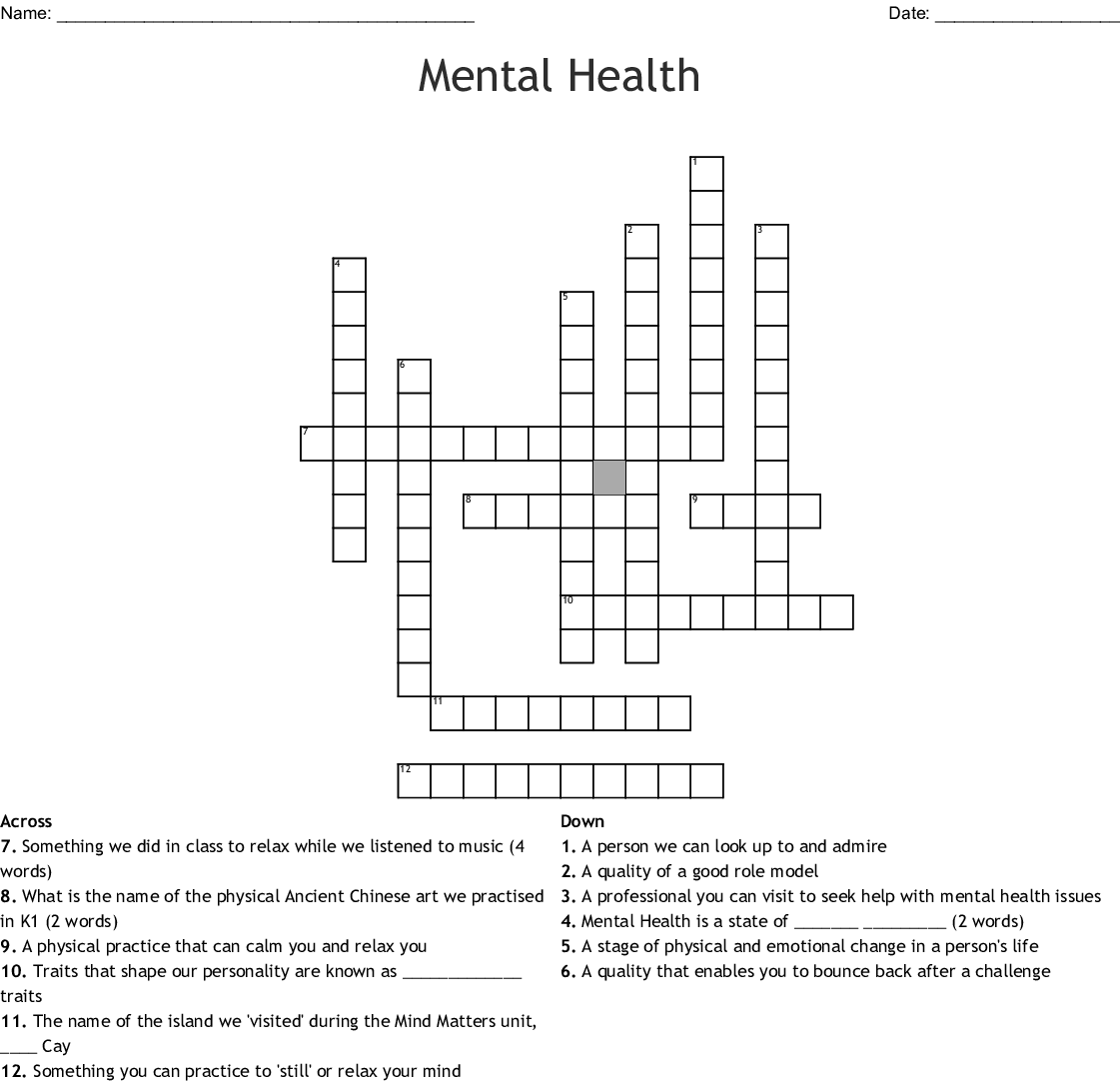 Mental Health Crossword Wordmint