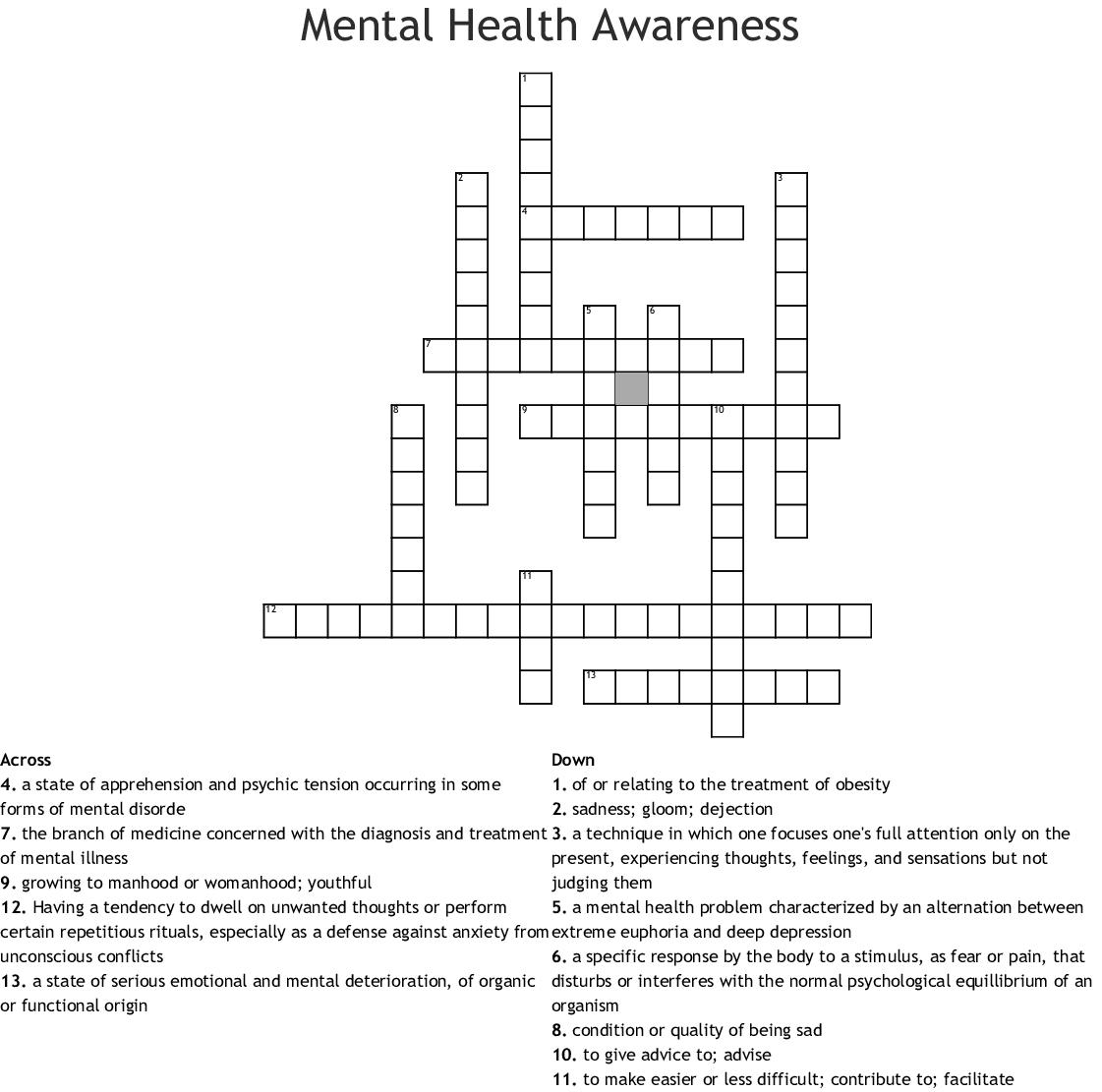 Mental Health Awareness Crossword Wordmint