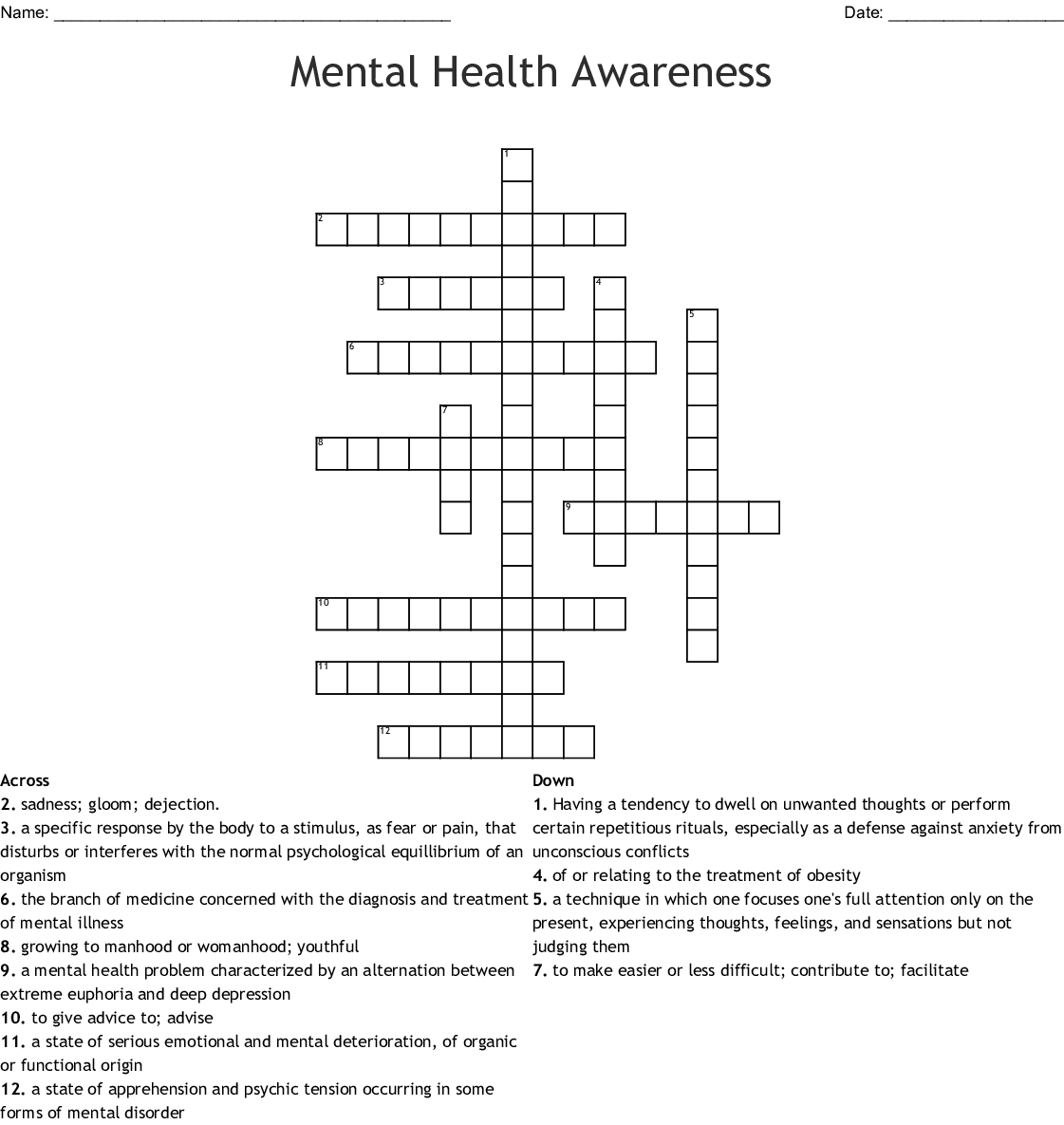 Wellness Crossword Puzzle Wordmint