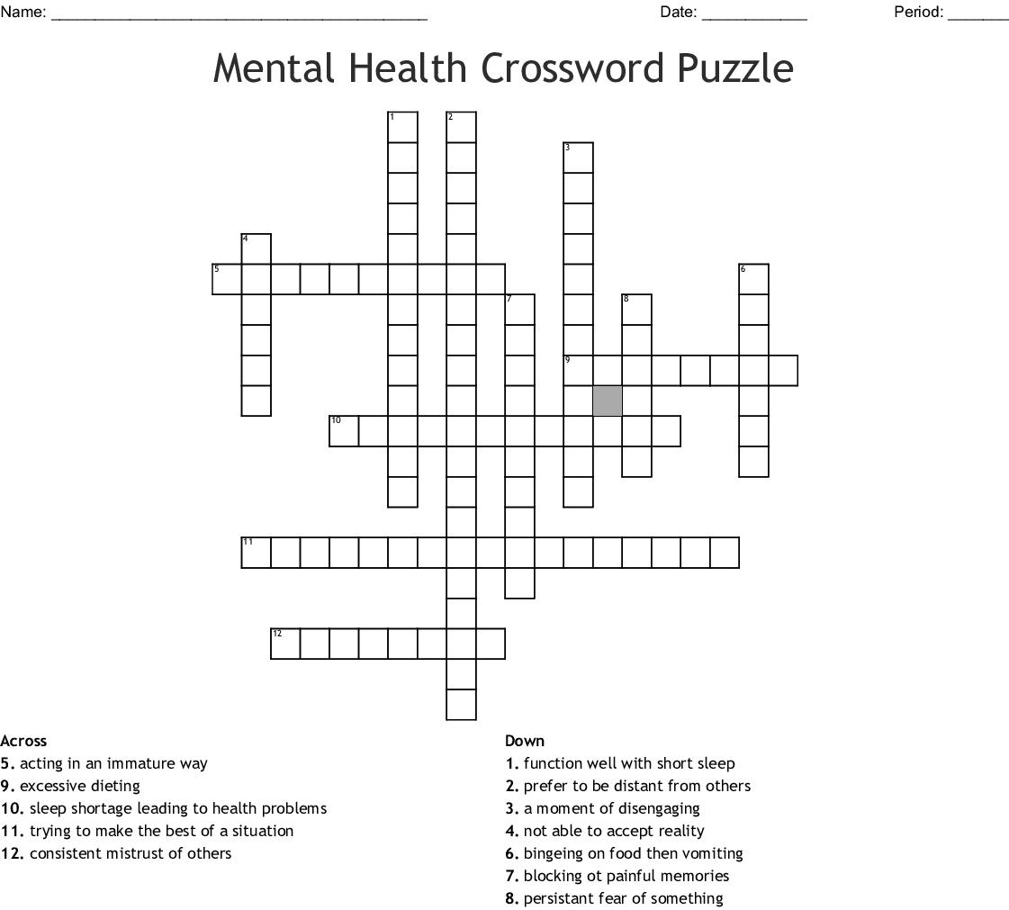 Mental Health Crossword Puzzle Wordmint