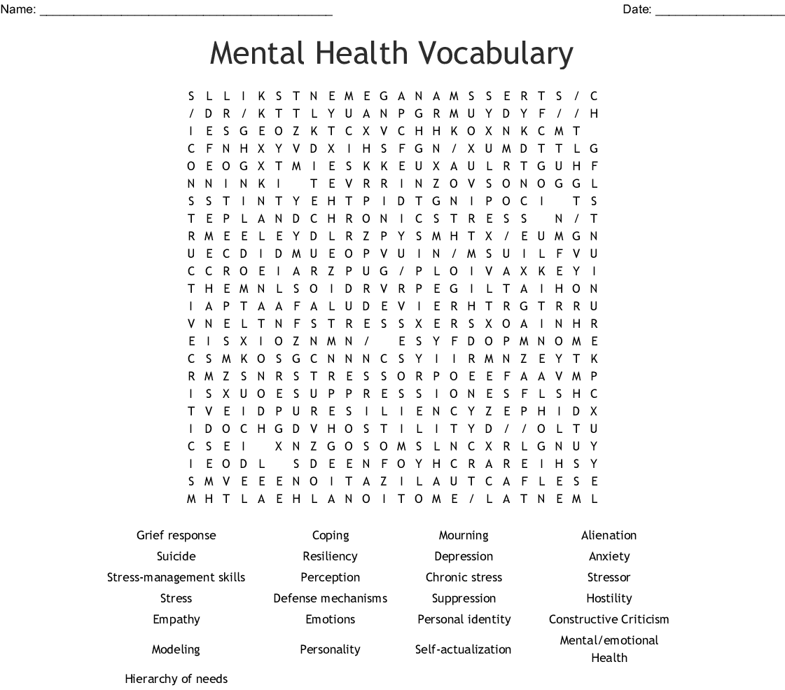Mental Health Vocabulary Word Search Wordmint