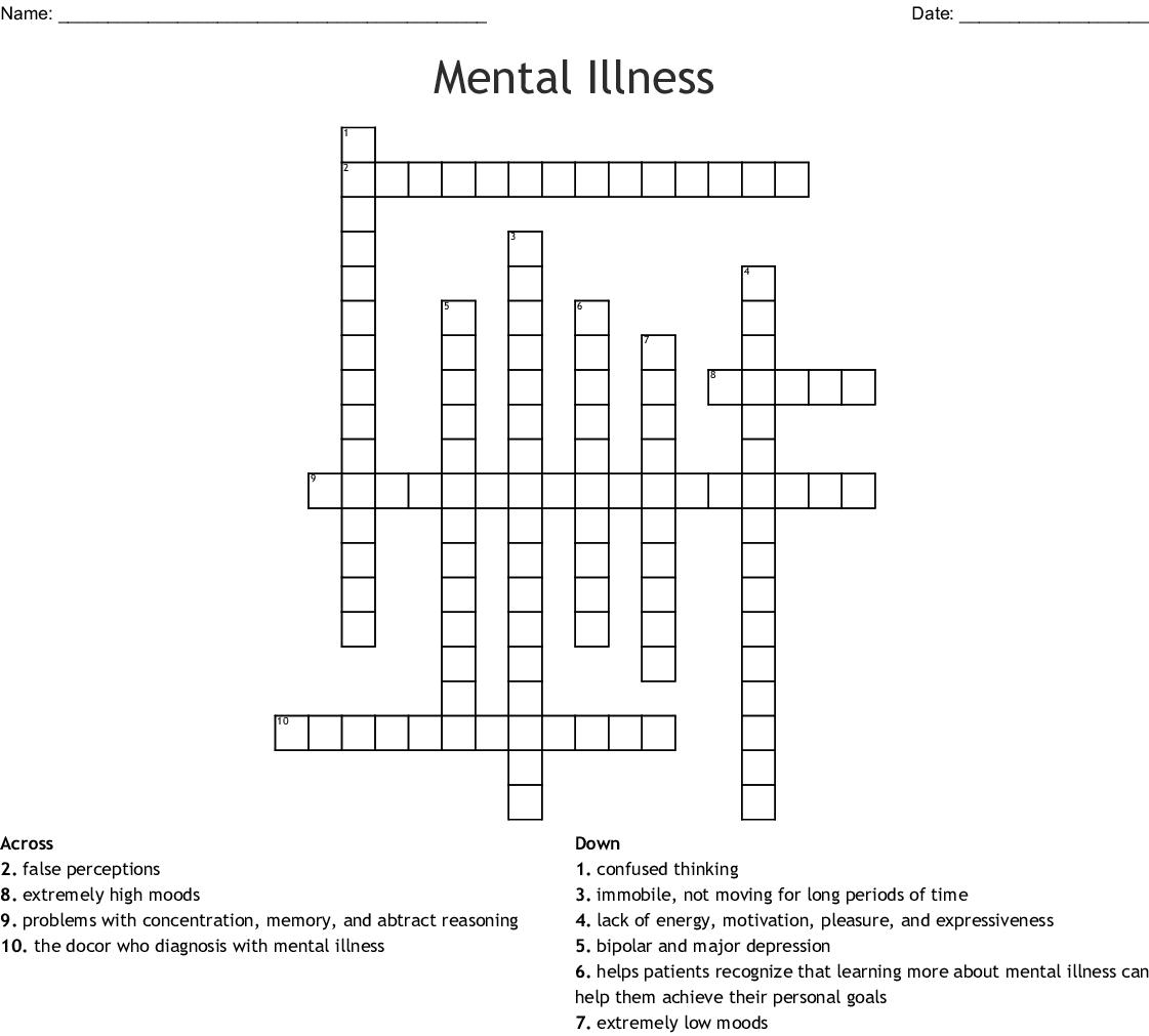 Mental Illness Crossword Wordmint