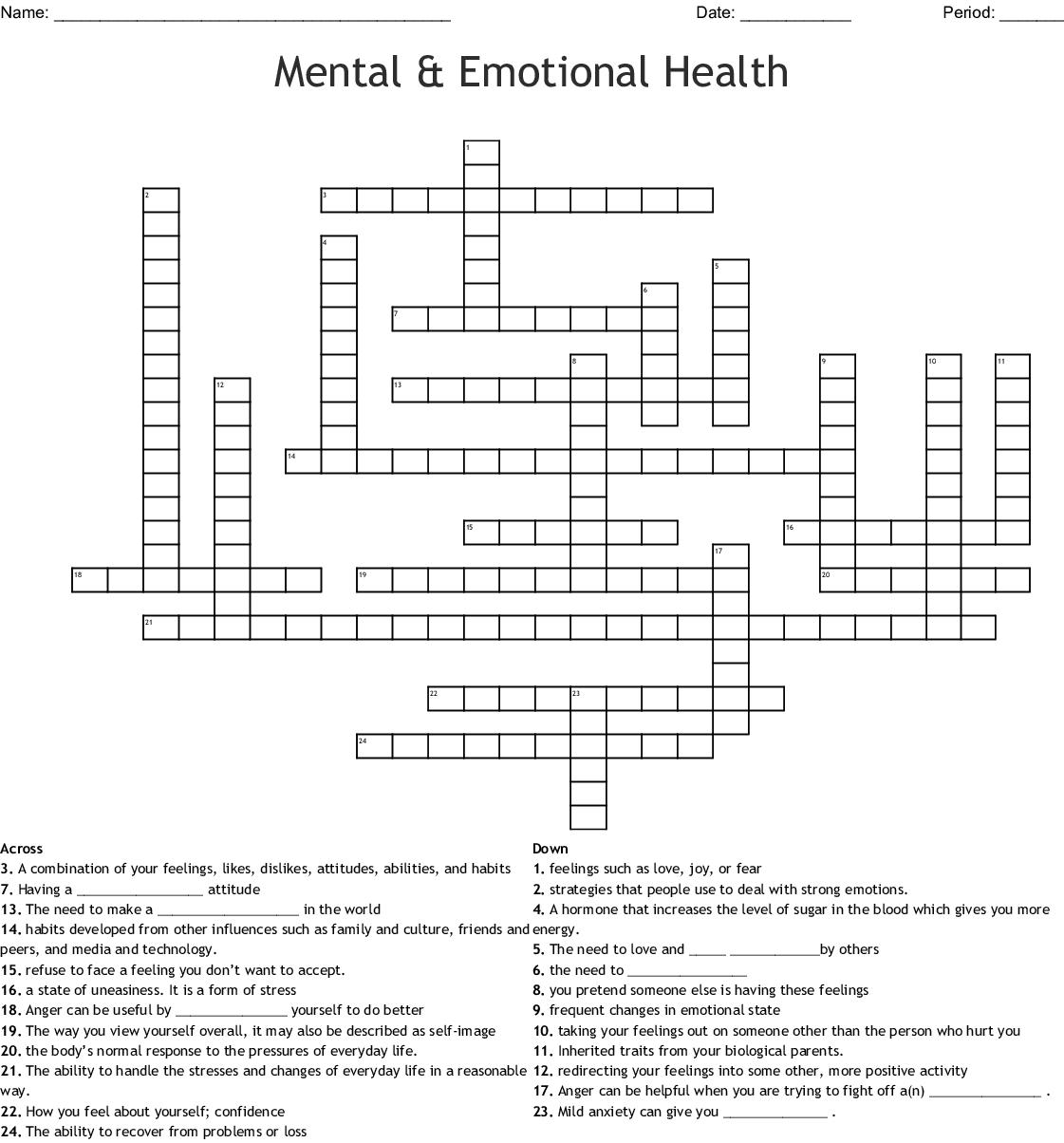 12 Defense Mechanisms Crossword Wordmint