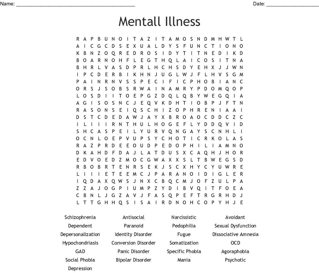 Personality Disorder Crossword - WordMint