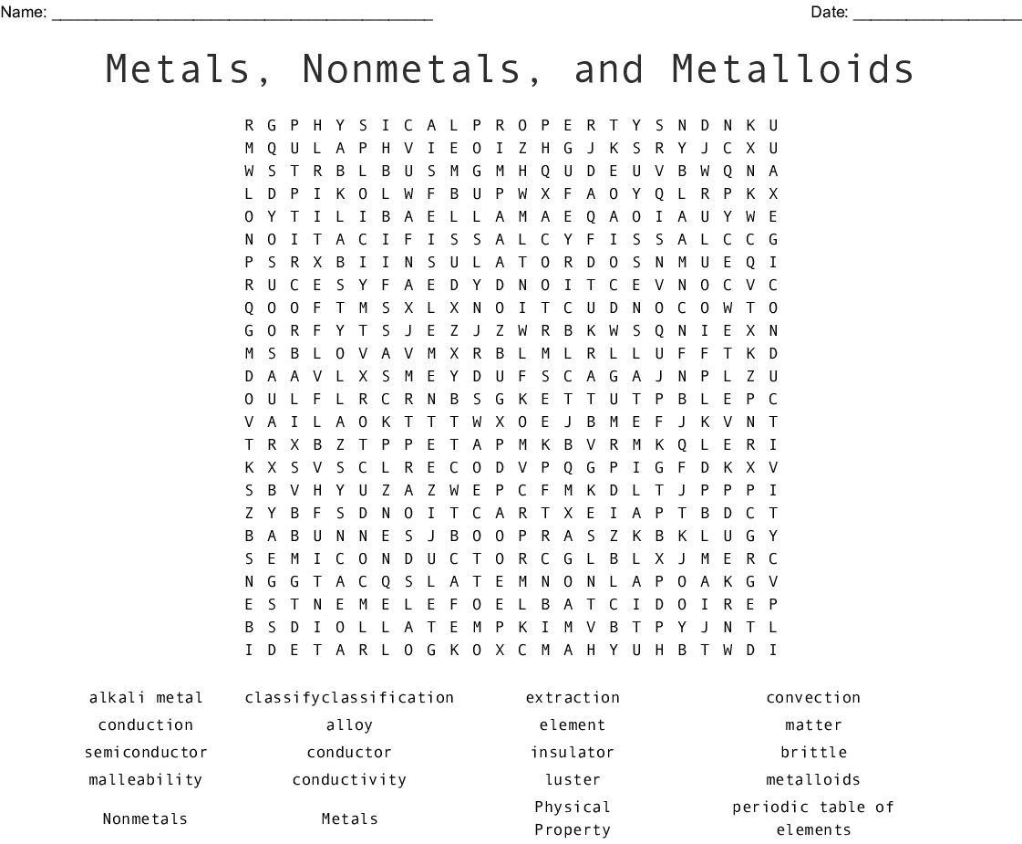 Metals Nonmetals And Metalloids Word Search Wordmint