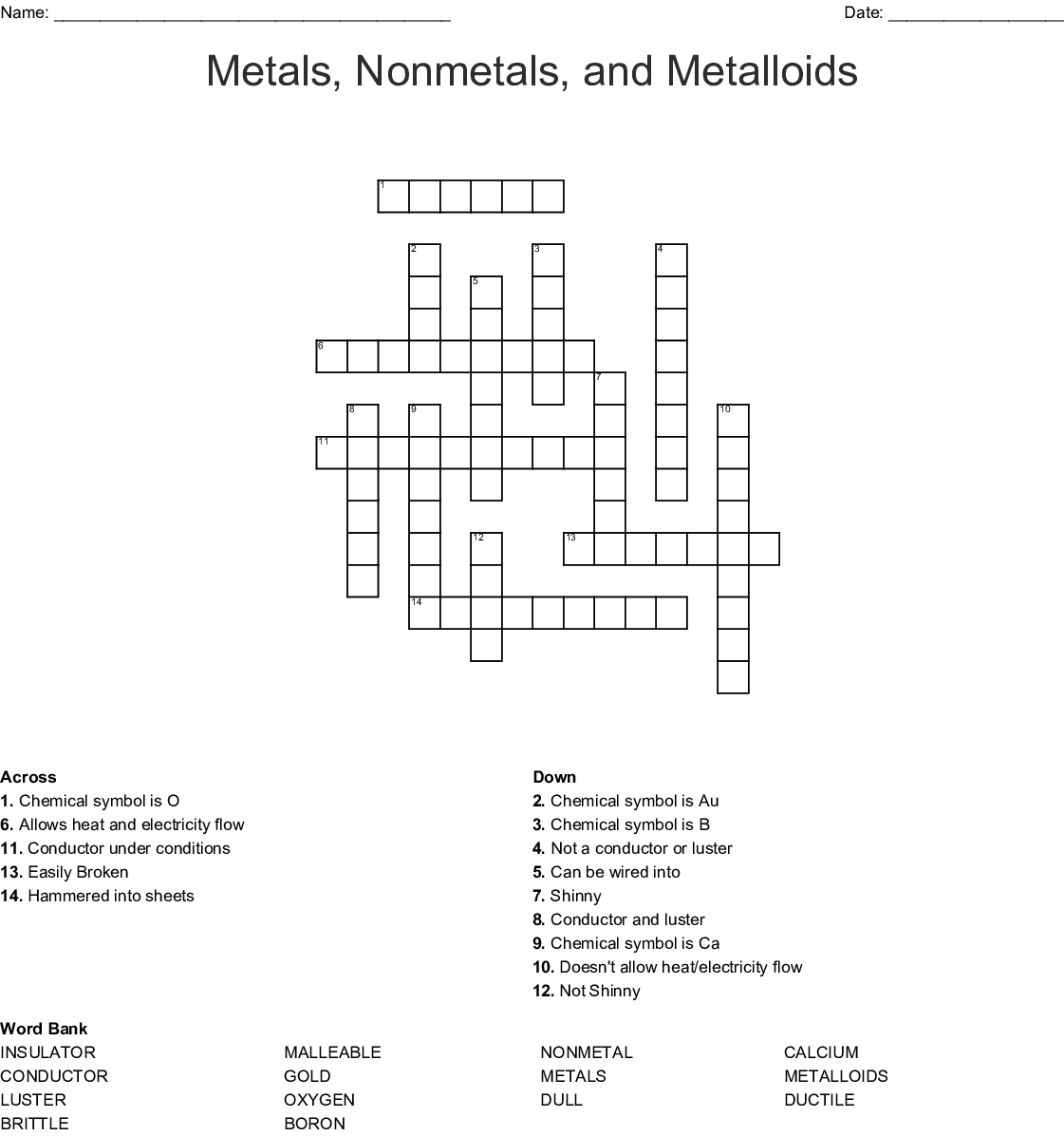 Metals Nonmetaletalloids Crossword