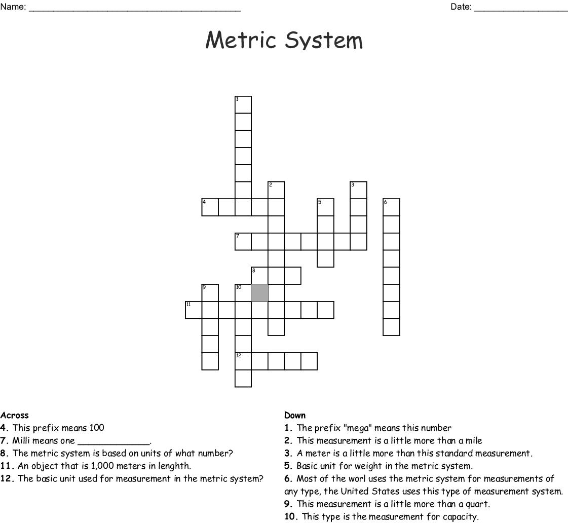Metric System Crossword Wordmint