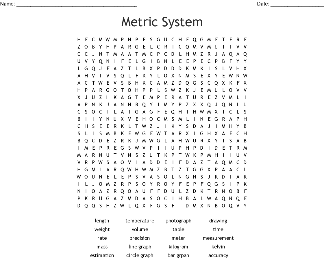 Metric System Word Search Wordmint