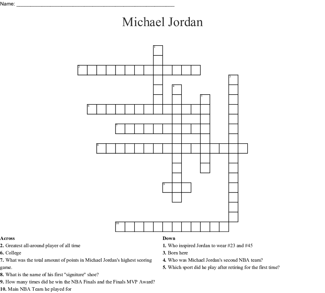 Michael Jordan The Life Word Search - WordMint