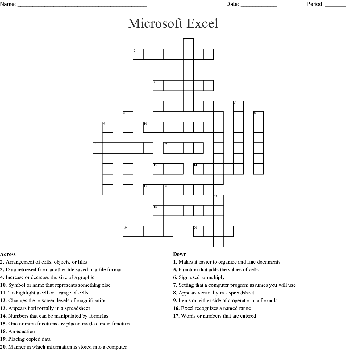 Microsoft Excel Crossword Wordmint