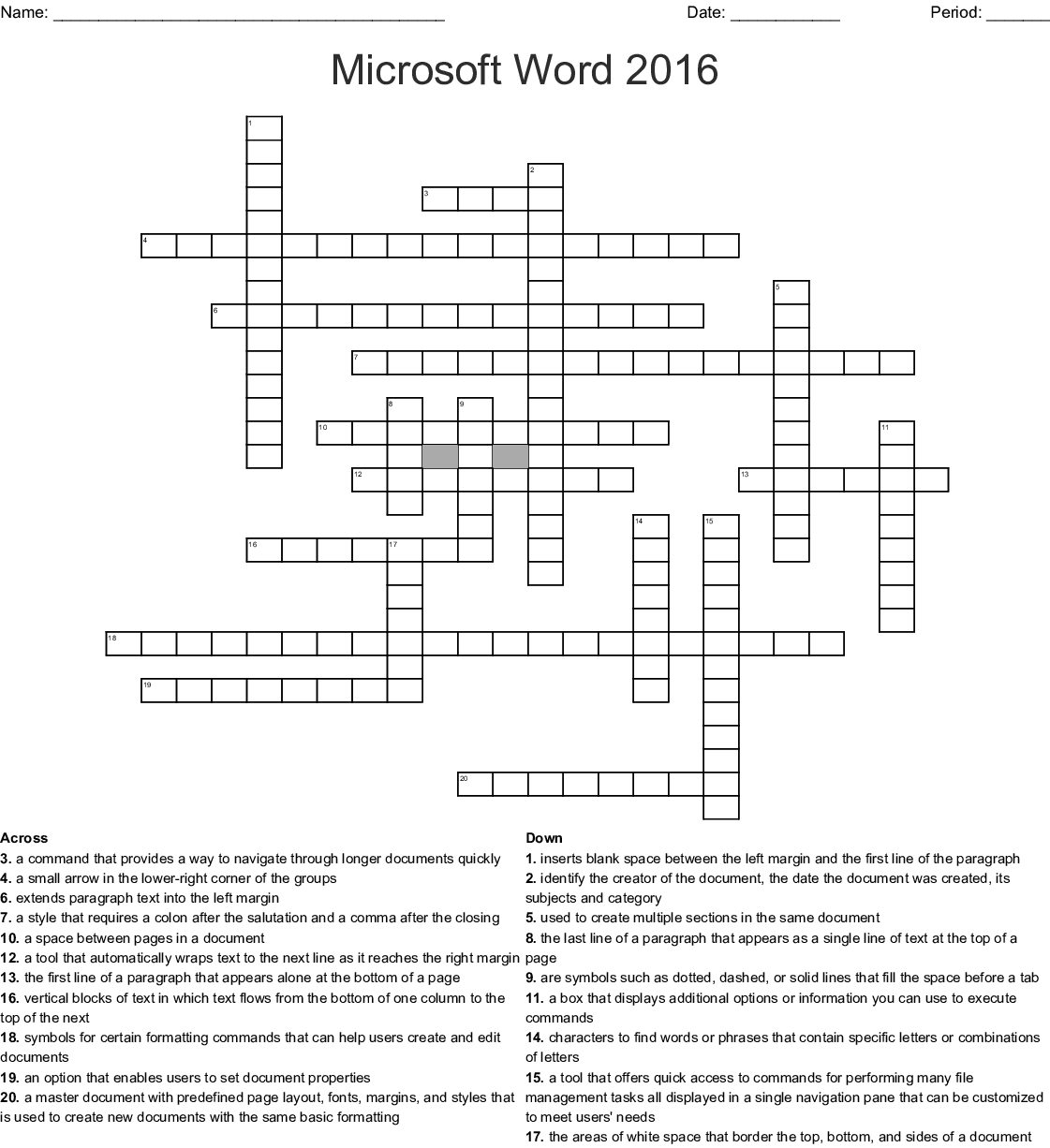 Microsoft Word & PowerPoint Vocabulary Crossword - WordMint