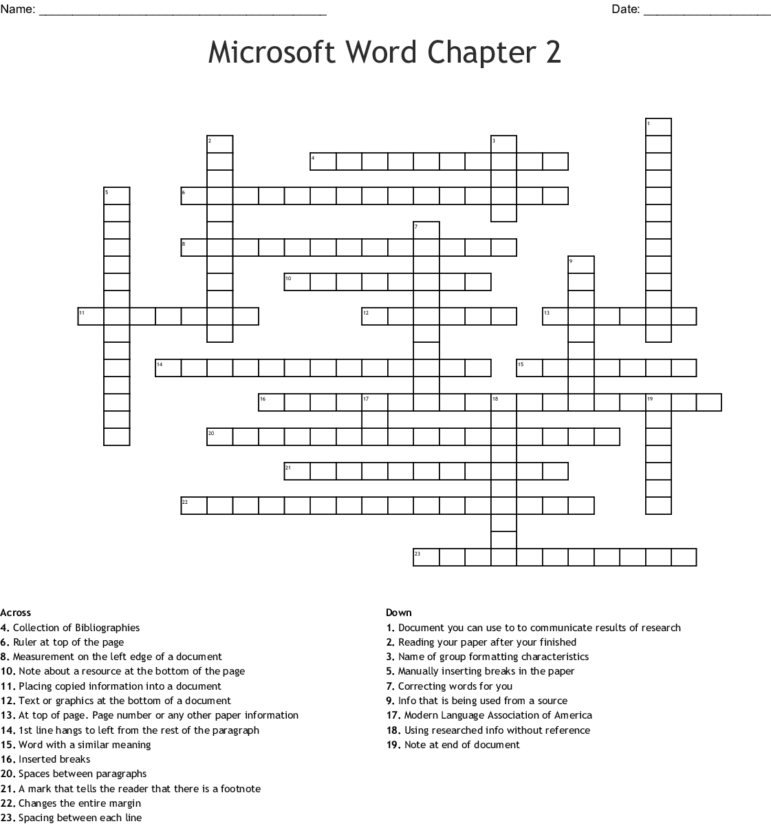 Microsoft Word Chapter 2 Crossword - WordMint