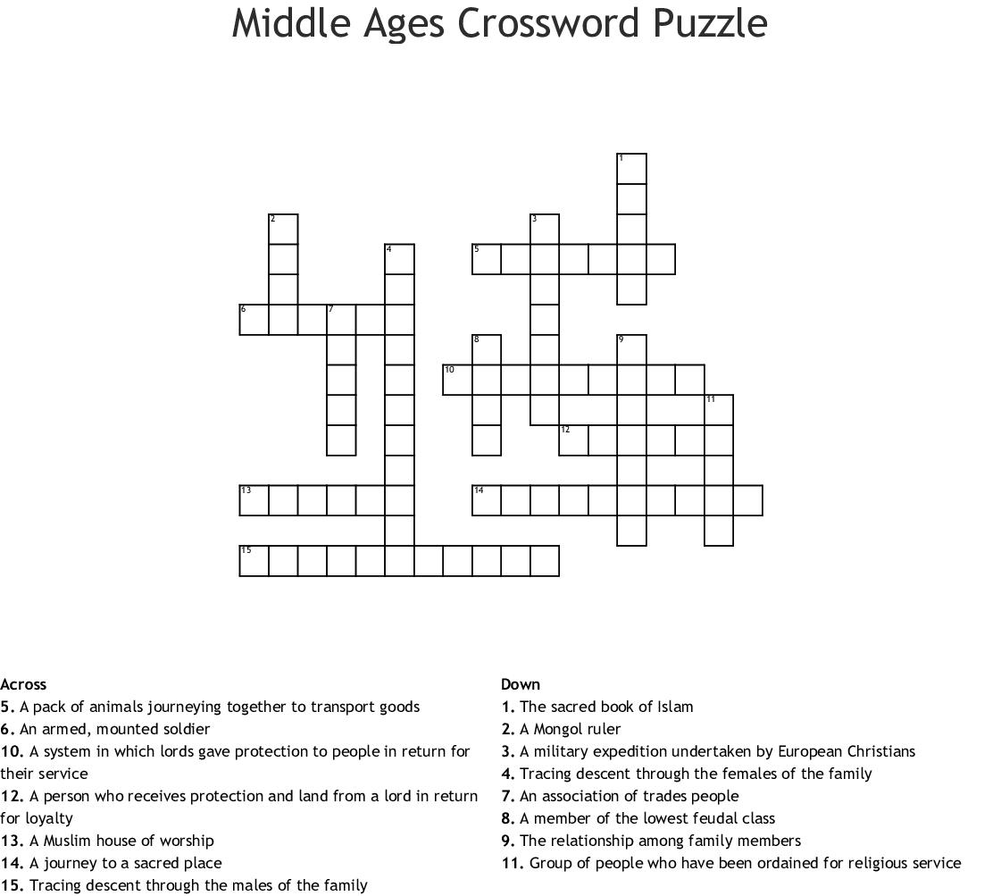 Middle Ages Crossword Puzzle Wordmint